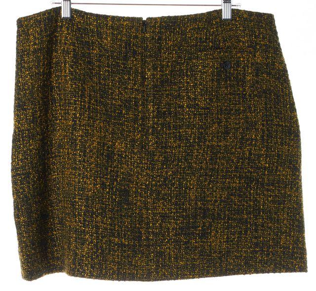L.K. BENNETT Mustard Yellow Black Boucle Ena A-Line Skirt