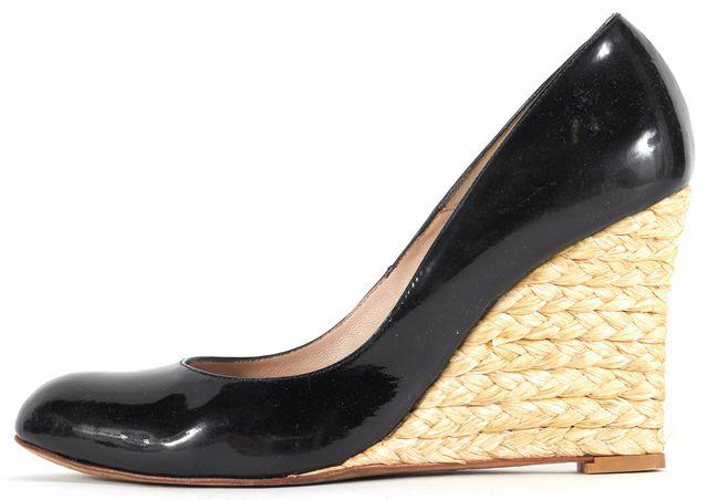 L.K. BENNETT Black Patent Leather Maddox Espadrille Wedges