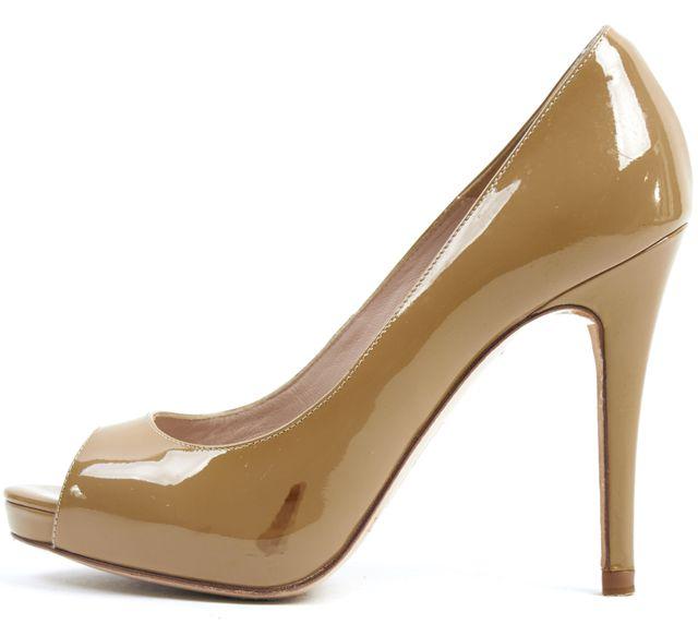 L.K. BENNETT Beige Patent Leather Peep Toe Pump Heels