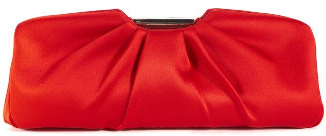 L.K. BENNETT Apple Red Silk Silver Hardware Clutch