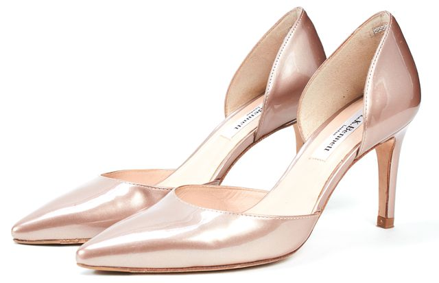 L.K. BENNETT Champagne Beige Patent Leather Flossie d'Orsay Heels