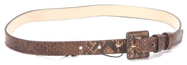 L.K. BENNETT Brown Snake Embossed Leather Genevra Belt