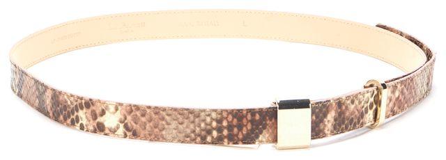 L.K. BENNETT Brown Pink Snake Print Embossed Leather Anna Belt