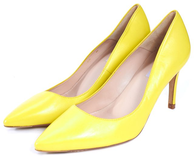 L.K. BENNETT Yellow Leather Pointed-Toe Florete Pumps Heels