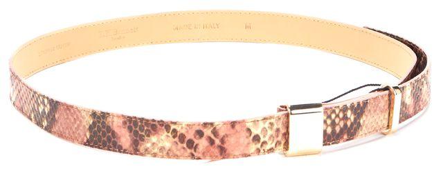 L.K. BENNETT Rose Pink Brown Snakeskin Leather Anna Belt