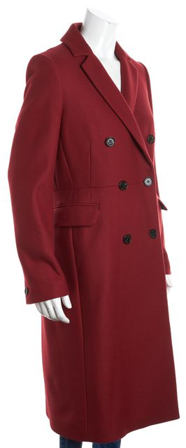 L.K. BENNETT Red Wool Caleste Two Button Up Back Slit Peacoat
