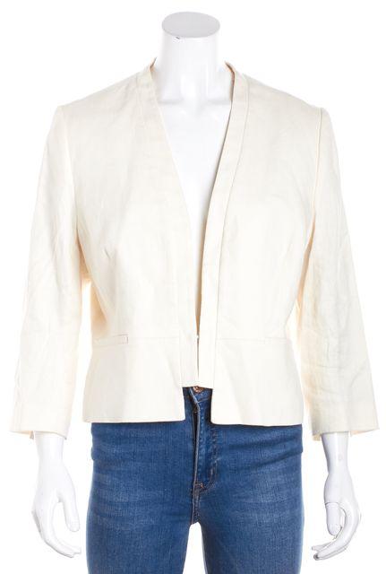 L.K. BENNETT Ivory Tweed Front Clasp Blazer