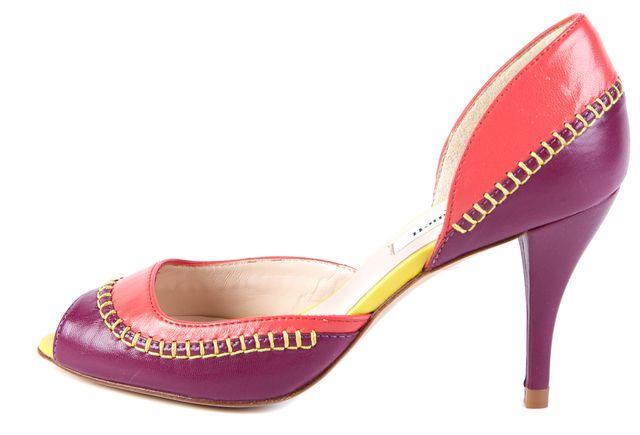 L.K. BENNETT Purple Abstract Leather Arlene Pump Heels