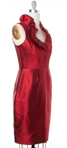 LELA ROSE Red Ruffle Sleeveless Sheath Dress