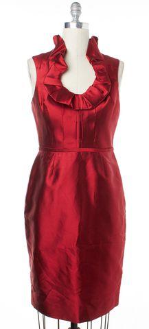 LELA ROSE Red Ruffle Sleeveless Sheath Dress Size 8