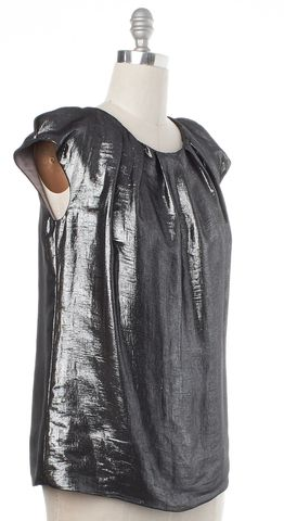 LELA ROSE Metallic Silver Silk Blouse Size 8