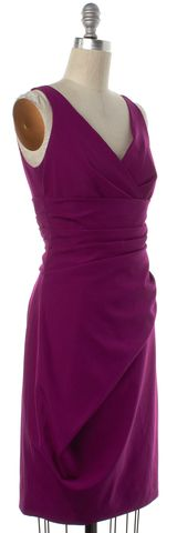 LELA ROSE Magenta Purple Silk Sheath Dress