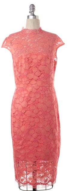 LELA ROSE Neon Pink Cotton Floral Lace Cap Sleeve Midi Sheath Dress