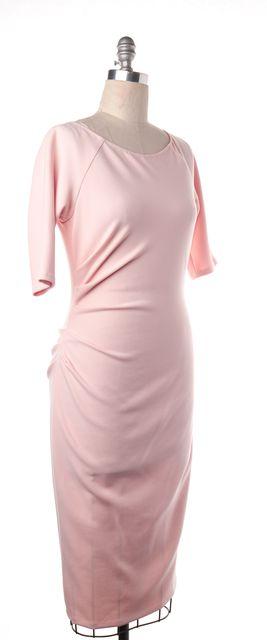 LELA ROSE Pink Stretch Jersey Half Sleeve Ruched Sheath Dress