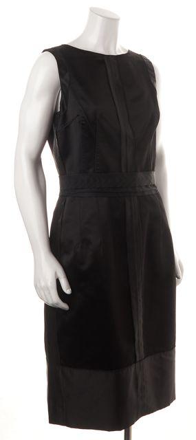 DOLCE & GABBANA Black Silk Grosgrain Trim Sleeveless Sheath Dress