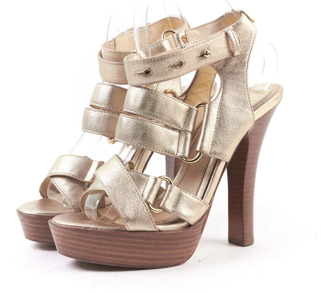 L.A.M.B Champagne Gold Strappy Leather Wooden Heel Platform Sandal