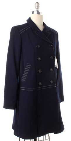 LOVE MOSCHINO Navy Blue Wool Double Breasted Coat
