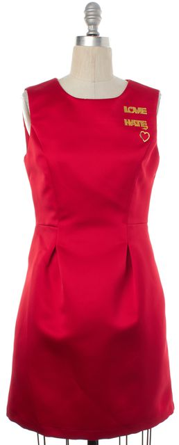 LOVE MOSCHINO Red Love Hate Sleeveless Sheath Dress