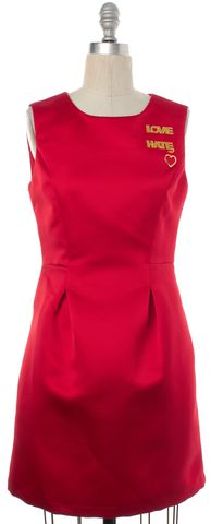 LOVE MOSCHINO Red Love Hate Sleeveless Sheath Dress