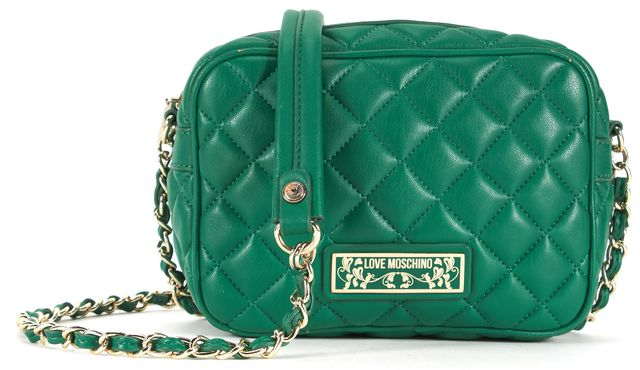 LOVE MOSCHINO Green Quilted Leather Gold Chain Strap Crossbody