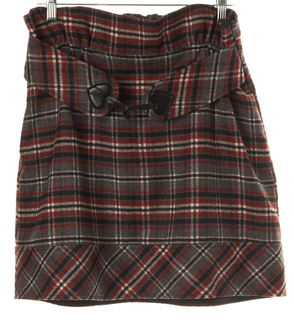 LOVE MOSCHINO Red Wool Plaid A-Line Skirt