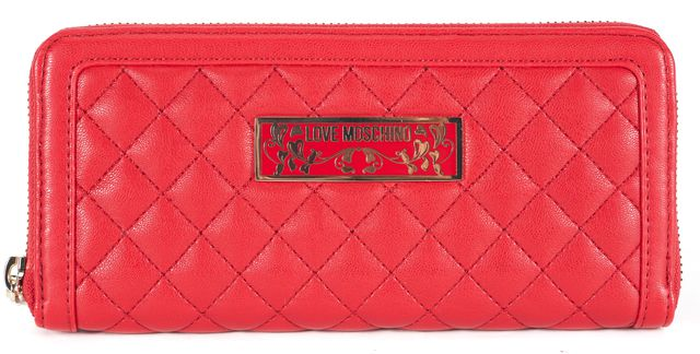 LOVE MOSCHINO Red Quilted Leather Continential Wallet