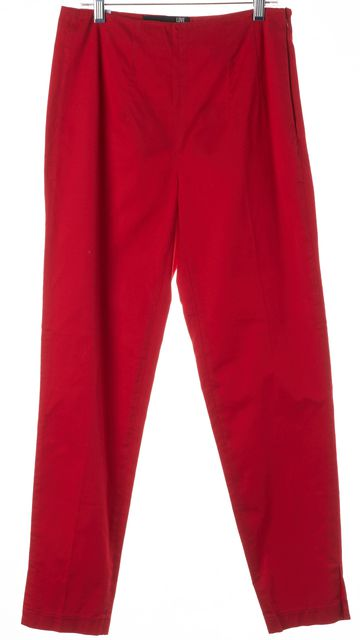 LOVE MOSCHINO Red Cotton High Waist Slim Trousers Dress Pants