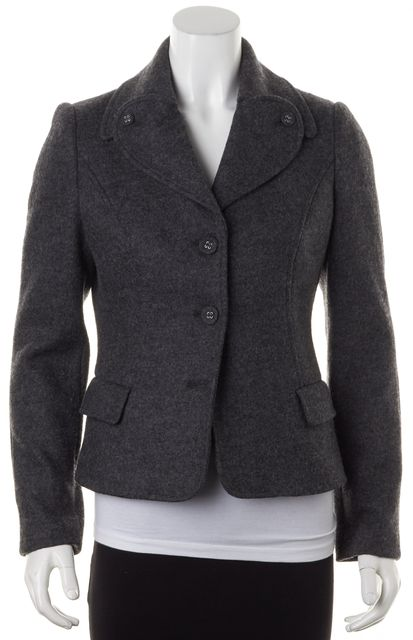 LOVE MOSCHINO Gray Felted Wool Winter Coat Jacket