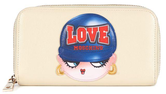 LOVE MOSCHINO Beige Navy Blue Leather Patch Zip-Around Wallet
