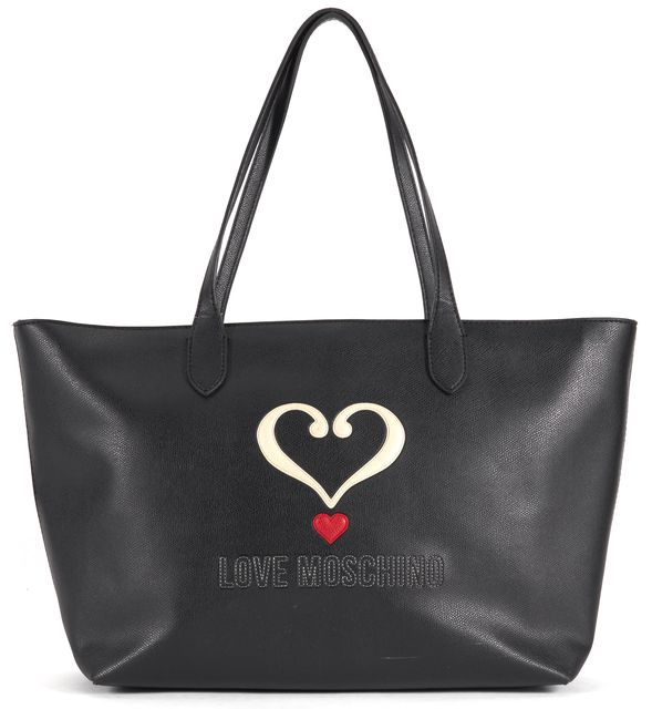 LOVE MOSCHINO Black Red Heart Embroidered Faux Leather Tote