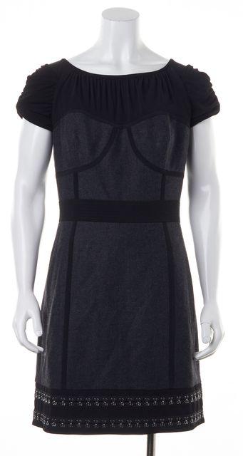 LAUNDRY Gray Suiting Black Ruched Jersey Embellished Hem Sheath Dress