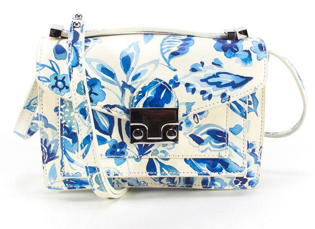LOEFFLER RANDALL White Blue Leather Mini Rider Satchel Shoulder Bag