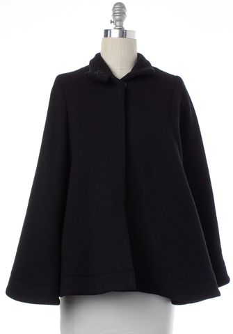 LOEFFLER RANDALL Black Wool Cape Coat Size 2