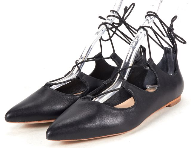 LOEFFLER RANDALL Black Leather Pointed-Toe Lace-up Ambra Flats