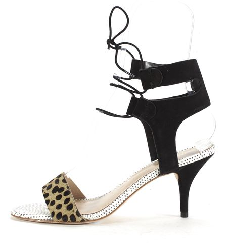 LOEFFLER RANDALL Black Tan Leather Calf Hair Ambrose Heels