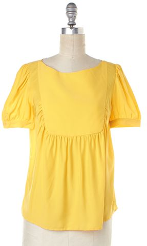 LOEFFLER RANDALL Yellow Silk Ruffled Short Sleeve Blouse