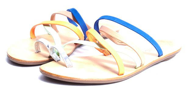 LOEFFLER RANDALL Multi Color Leather Sarie Caged Sandals