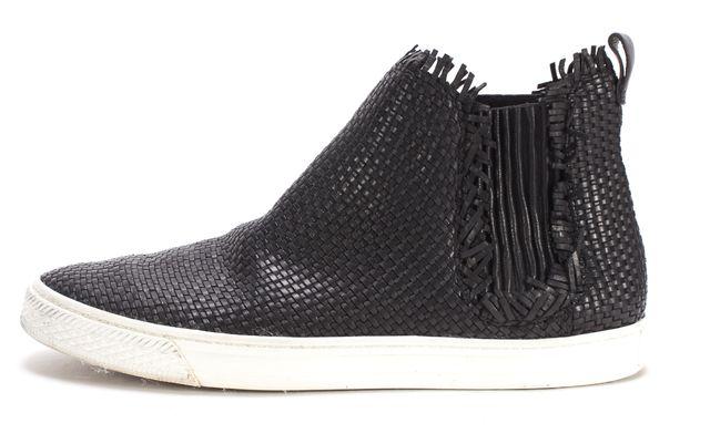 LOEFFLER RANDALL Black Woven Leather High Top Slip-On Sneakers