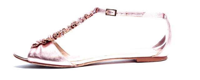 LOEFFLER RANDALL Gold Rose Leather T-Strap Flat Sandals