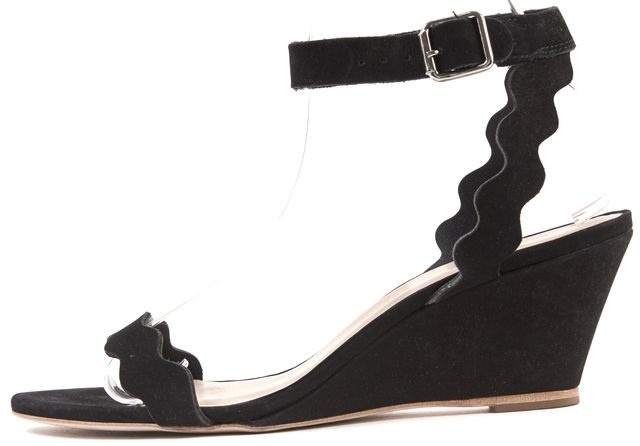 LOEFFLER RANDALL Black Nubuck Leather Open Toe Ankle Strap Wedge Sandals