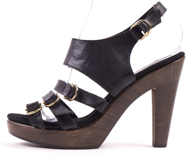 LOEFFLER RANDALL Black Leather Casual Multi Strap Sandal Heel
