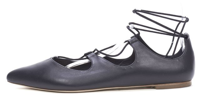 LOEFFLER RANDALL Black Leather Casual Lace Up Ballet Flats