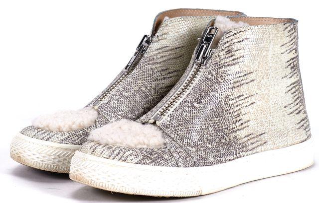 LOEFFLER RANDALL Beige Gray Animal Print Embossed Leather High Top Sneakers