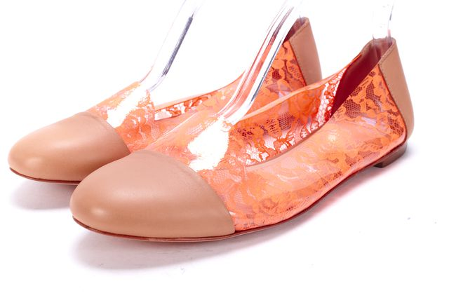 LOEFFLER RANDALL Tan Leather Orange PVC Abstract Flats
