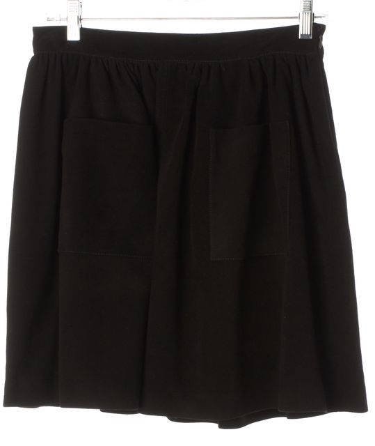 LOEFFLER RANDALL Black Suede Leather Pleated Pocket Front A-Line Skirt