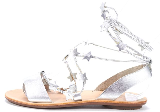 LOEFFLER RANDALL Silver Star Embellished Leather Wrap Around Sandals