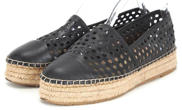 LOEFFLER RANDALL Black Perforated Leather Espadrille Flats