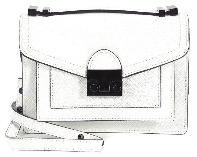 LOEFFLER RANDALL White Pebbled Leather Envelope Flat Crossbody Bag