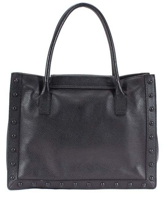 LOEFFLER RANDALL Black Pebbled Leather Studded Tote Bag