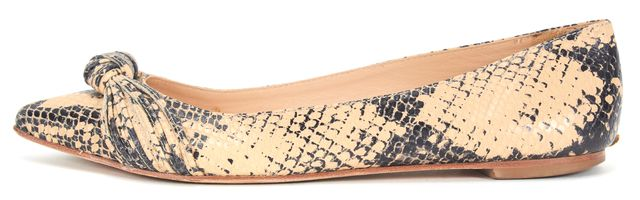 LOEFFLER RANDALL Beige Black Leather Snakeskin Print Pointed Toe Flats